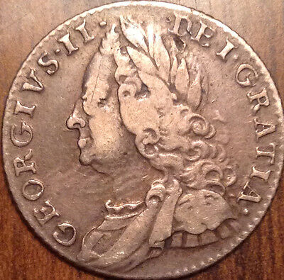 1757 Gb Silver Sixpence Ultra Old Coin In Fantastic Condition !