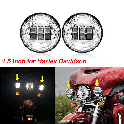 """4-1/2"""" 4.5inch Chrome Cree LED Auxiliary Spot Fog Passing Light Lamp for Harley"""