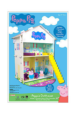 NEW PEPPA PIG George 2 Storey 76cm Wooden Dollhouse Play House 4 Figure Toy Set