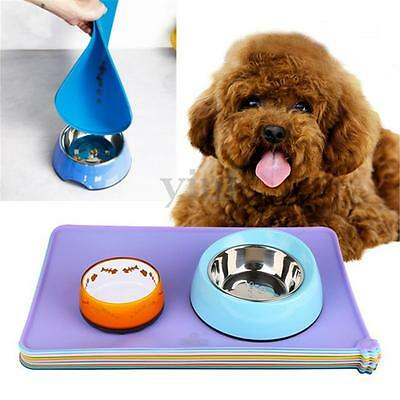Silicone Puppy Dog Placemat Pet Cat Dish Bowl Feeding Food Water Mat Easy Clean