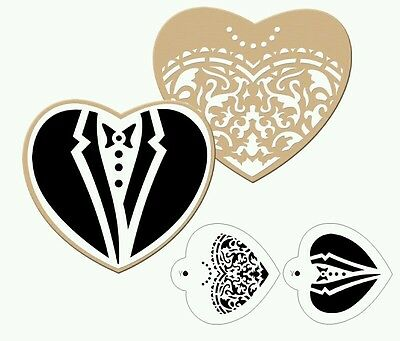 New Bride and Groom Cupcake  Cookies stencil Fondant sugarcraft Airbrush UK Sell