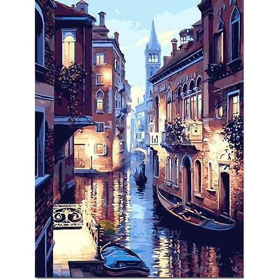 30*40cm DIY Paint By Number Kit Digital Oil Painting Canvas Beauty Venice New A