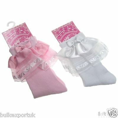 Baby Girls Romany Lace Socks Spanish Style Knee High Pink or White