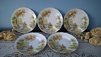 """5 x ROYAL STANDARD """"THE OLD MILL STREAM"""" CHINA SIDE PLATES"""