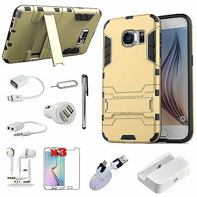 Gold Kickstand Case Cover Charger Earphones Accessory For Samsung Galaxy S6
