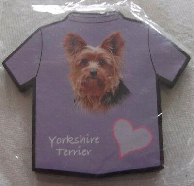 A Yorkshire Terrier on a Purple T-Shirt Shaped fridge magnet
