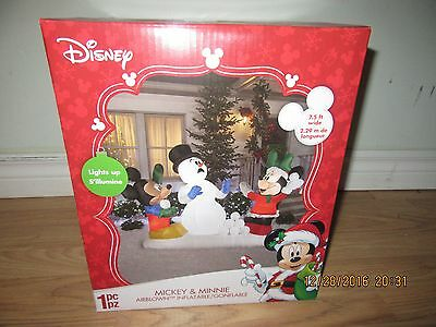 "INFLATABLE CHRISTMAS MICKEY and MINNIE MOUSE ""SNOWBALL FIGHT"" NEW GEMMY  $129.99"