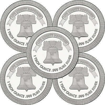 SPECIAL PRICE!! Liberty Bell Stackables 1oz .999 Silver Medallion 5pc