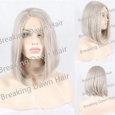 "12"" Short Straight White Grey Lace Front Wig Heat Resistant"