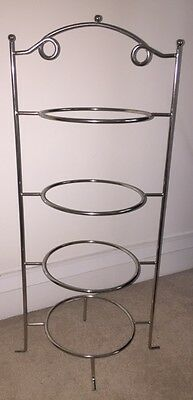 4-tier Stainless Steel Cake Stand for Afternoon Tea or as a Pizza Rack