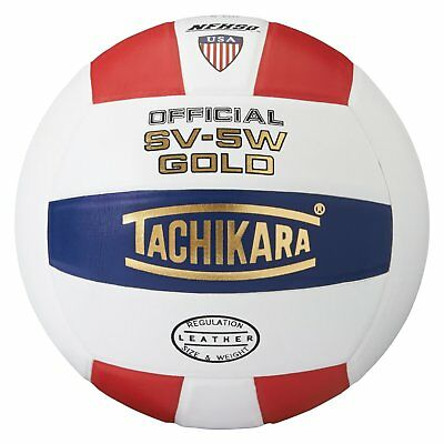 Tachikara SV5W Gold Competition  Leather Volleyball Scarlet/White/Navy