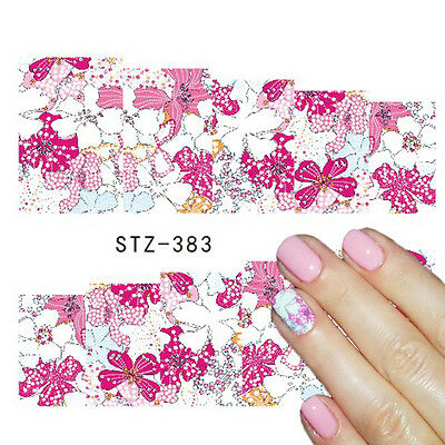 Nail Art Water Decals Stickers Decoration Pink Flowers Daisies Gel Polish (383)
