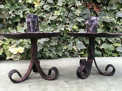 Antique Pair Wrought Iron Candle Sticks Blacksmith made Primitive Shabby Chic