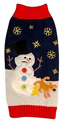 Quaker Pet Dog Ugly Christmas Holiday Sweater Funny Snowman Blue Red M