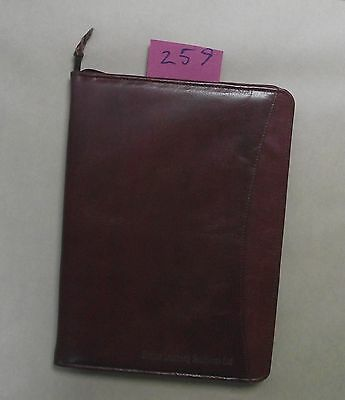A4 brown leather folder  (style 259) with Ethika Learning Solutions Ltd on front