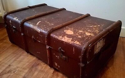 Large old vintage trunk, chest, storage box