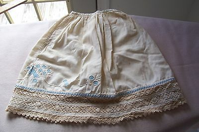 Antique Victorian Edwardian Doll 1/2 slip Lace Trim Hand Embroidery Open Work