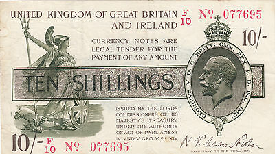 T26 Warren Fisher Ten Shilling 10/- (dash variety) Treasury Note VF 30.9.1919