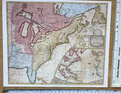 """Antique vintage old colour map English Empire in America 1700s: 11 X 9"""" Reprint"""