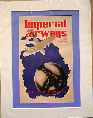 """World's longest route 1936: Mounted poster 14"""" x 11"""": Vintage airline advert"""