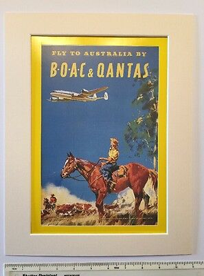 """Fly to Australia by BOAC & Qantas 1950: vintage advert  Mounted poster 14"""" x 11"""""""