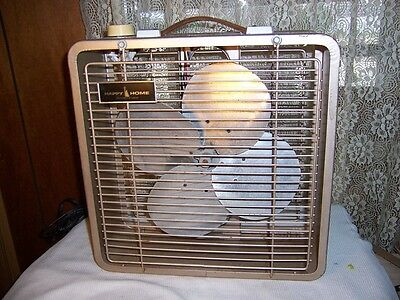 "Vintage Happy Home Woolworth Brand 15"" 3 Speed Brown All Metal Box Fan"