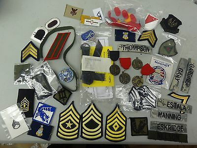 Lot 5 Set Of Misc Military Patches Army Air Force And Other Stuff Buttons Names