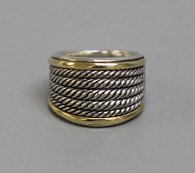 Excellent David Yurman 18K Yellow Gold & Sterling Silver Cable Ring Band-Size 6