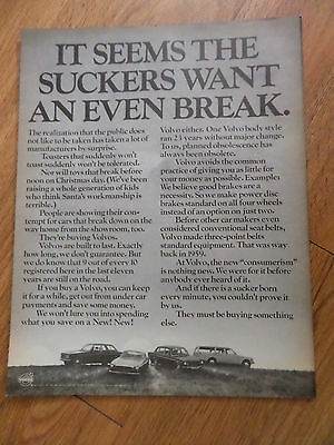 1971 Volvo Ad It Seems the Suckers Want an even Break