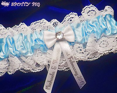 Personalised Wedding Bridal Garter Something Blue, Handmade Lingerie Crystal Hen