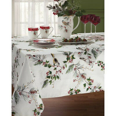 "Lenox Winter Song Bird Holly Pine Holiday Christmas Tablecloth: 84"", 102"", 120"""
