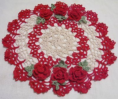 red and ecru oval roses crocheted doily by Aeshagirl