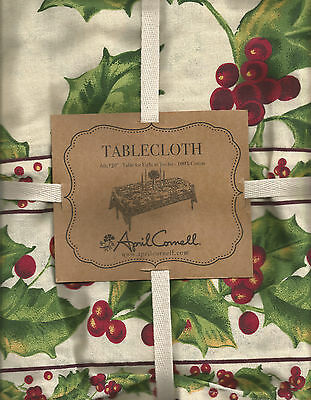 "April Cornell Carol Holly Holiday Christmas Tablecloth:70"" Round, 120"" Rect"