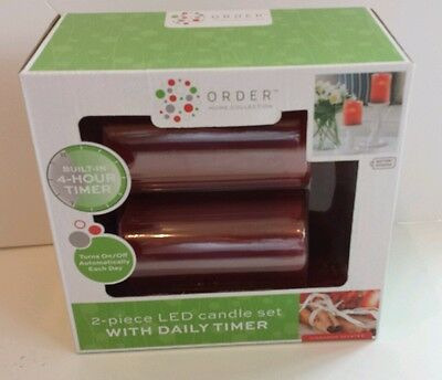 Order Home Collection 2-piece LED Candle Set with Daily Timer Cinnamon Scent