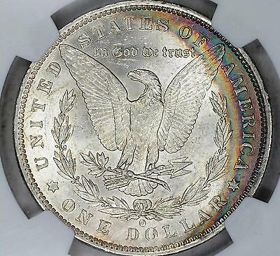 1884-O Morgan Silver Dollar $1 Ngc Ms 62 Beautiful Rainbow Crescent Toning