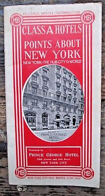 VTG 1912 Class A Hotels Points About New York City Guide Booklet Prince George