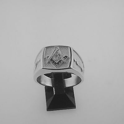 .925 sterling silver solid back masonic ring