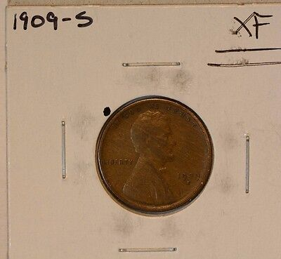 1909-S LINCOLN WHEAT CENT 1c XF