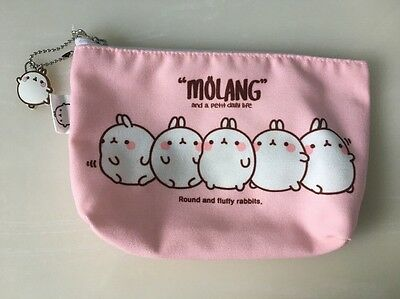 Molang Cute Rabbit Bunny Pencil Pouch/bag With Charm