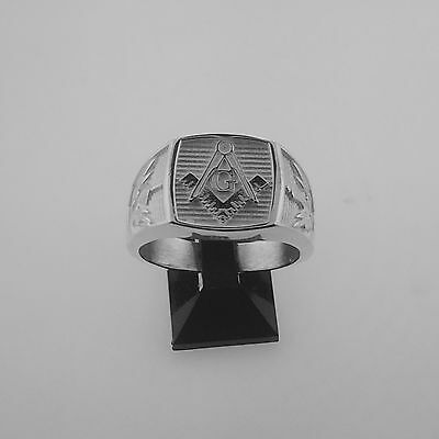 .925 sterling silver masonic ring WITH SOLID BACK