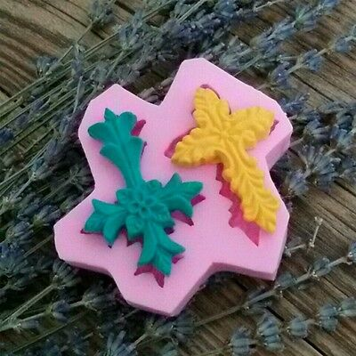 New 2 Fancy Cross Silicone Mould Christening Baptism Religious Communion Wedding