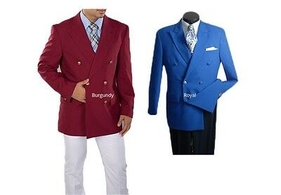 Men's Double Breasted Blazer Six Brass Buttons Sports Coat Classic Fit 6 Colors