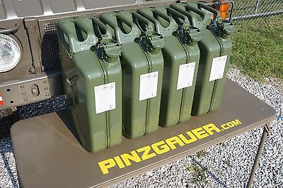 NATO Swiss Army Fuel Gas Jerry Can 20 Liter  Set of 4  Military steel 5 Gallon