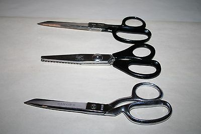 3 pairs of Sewing Scissors; Griffon Pinking Shears, Wiss Inlaid & Singer 708H