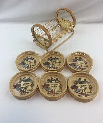 Jamaica Bamboo Basket Coaster Set Wood Woven Basket Caribbean Sea Cultural