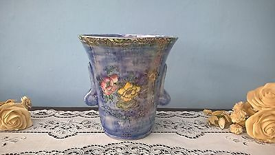 Royal Bradwell Arthur Wood Blue Pearlware Floral Vase With Frog