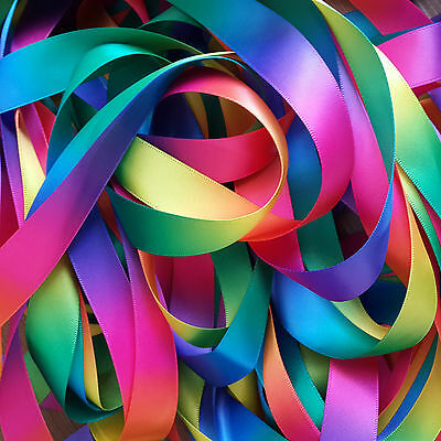 10 Yards Single/Double Sided Rainbow Satin Ribbon Decor 10 16 19 25 38mm Craft