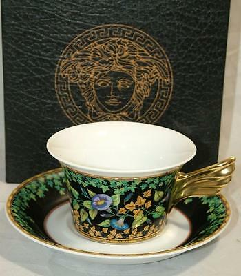 VERSACE Gold Ivy Wings Cup & Saucer by Rosenthal NEW IN BOX