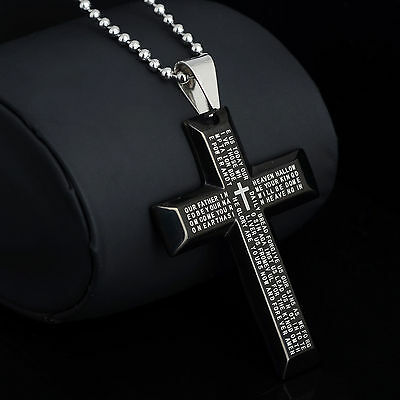 New Gift Unisex's Men Stainless Steel Cross Pendant Black Silver Bible Necklace
