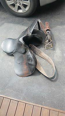 Horse Saddle All Purpose Leather With  Girth And Stirrups